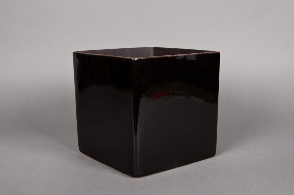A036QS Cache-pot en céramique cube noir 13x13cm H13cm