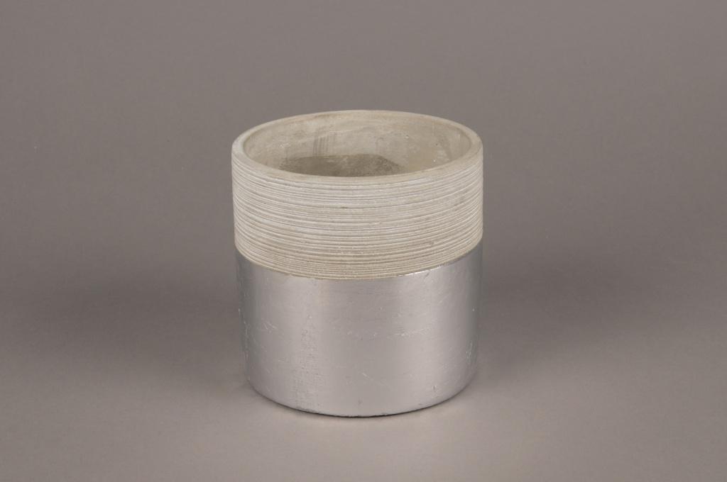 A036U0 Cache-pot en terre cuite gris argent D11.5cm H13m