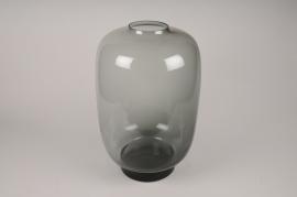 A036W3 Vase en verre obus gris D34cm H50cm