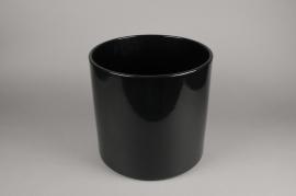 A037A8 Cache-pot en céramique noir D36cm H35cm
