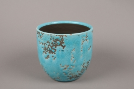 A037BS Blue ceramic planter D17cm H16.5cm