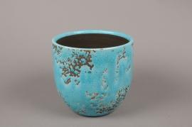 A037BS Blue ceramic planter D17cm H16.5cm