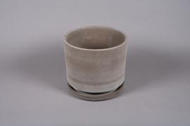 A037DO Pot en céramique sable avec soucoupe D30cm H27cm