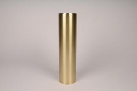 A037E0 Bougeoir cylindre métal or D8.5cm H35cm