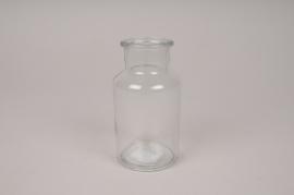 A037H9 Vase bouteille en verre D6.5cm H12.5cm