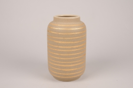 A037I4 Vase en céramique taupe D18cm H31cm