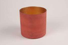 A037JY Cache-pot en métal rouge D15.5cm H14cm