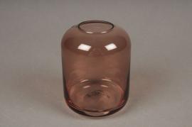 A037P5 Vase en verre rose D8cm H11cm