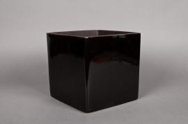 A037QS Cache-pot en céramique cube noir 18x18 H18cm