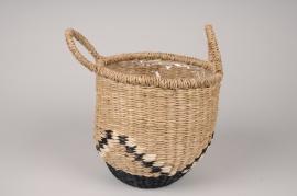 A037UV Graphic basket planter D20cm H21cm