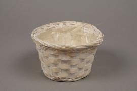 A037VX White bamboo bowl D15cm H9cm