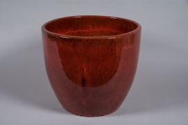 A037YD Pot en céramique émaillé bordeaux D50cm H43cm