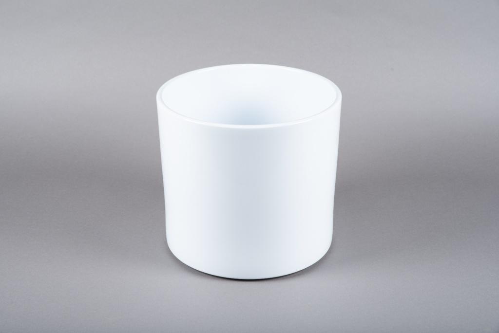 A038A8 White ceramic planter D28cm H25.5cm