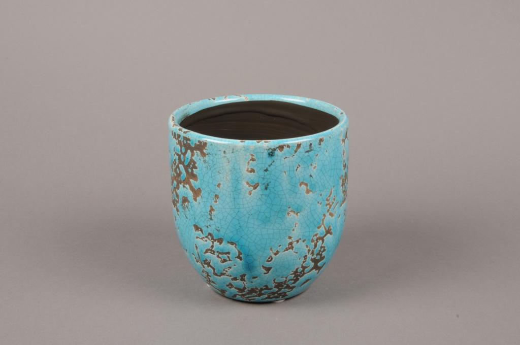 A038BS Cache-pot en céramique turquoise D13cm H13.5cm