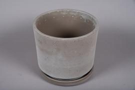 A038DO Pot en céramique sable avec soucoupe D33.5cm H30cm