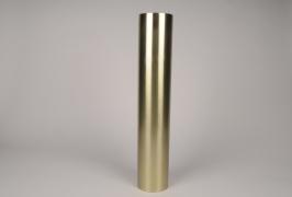 A038E0 Bougeoir cylindre métal or D9cm H55cm