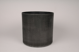 A038E5 Grey anthracite metal planter D25.5cm H24.5cm