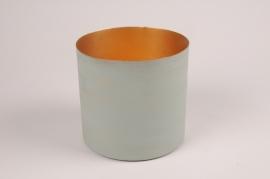 A038JY Cache-pot en métal vert D15.5cm H14.5cm