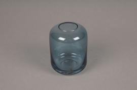 A038P5 Vase en verre bleu D8cm H11cm