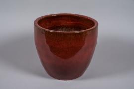 A038YD Pot en céramique émaillé bordeaux D40cm H34cm