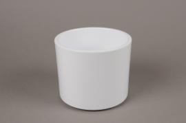 A039A8 White ceramic planter D15.5cm H13cm