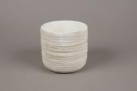 A039AC Cache-pot en béton strié blanc D14cm H13cm
