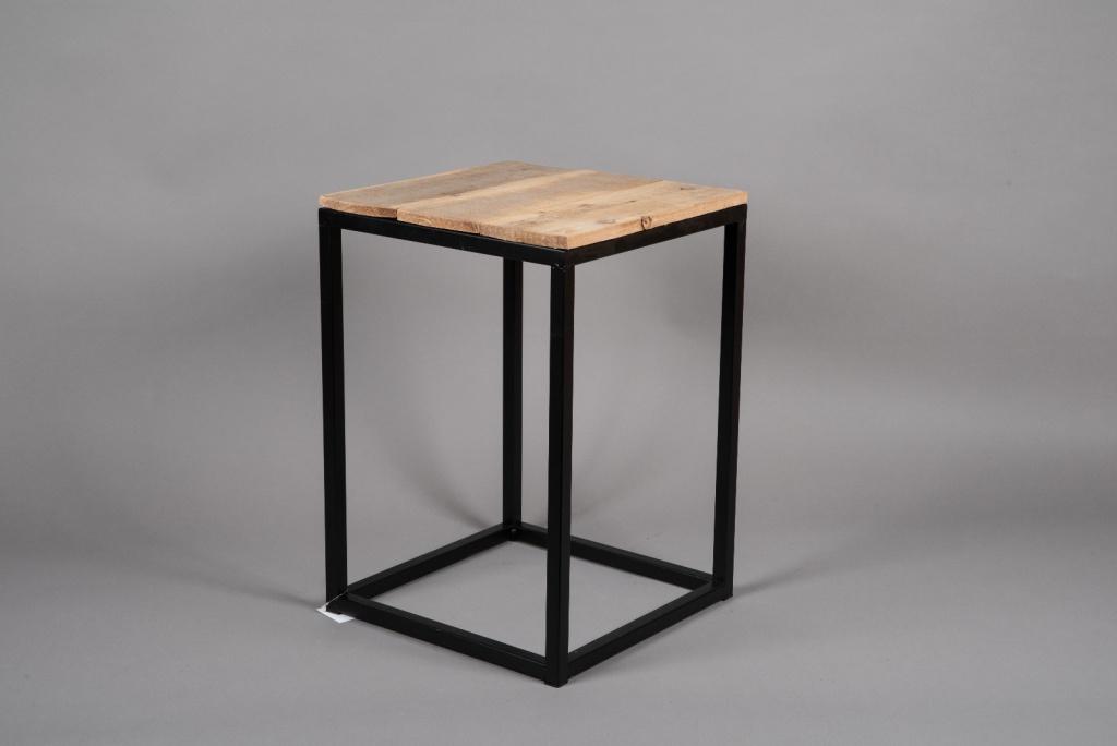 A039AY Sellette en bois et métal 35cm x 35cm H50cm