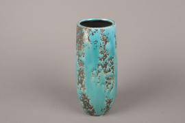 A039BS Vase en céramique turquoise D9.5cm H25cm