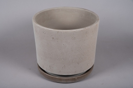 A039DO Pot en céramique sable avec soucoupe D39cm H35cm