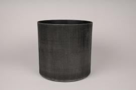 A039E5 Cache-pot en métal gris anthracite D20.5cm H19.5cm