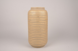 A039I4 Vase en céramique taupe D20cm H40cm