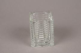 A039IH Photophore en verre strié L7cm H9cm