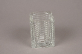 A039IH Ribbed glass candle jar L7cm H9cm