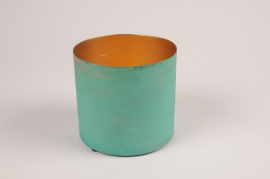 A039JY Cache-pot en métal vert bleu D12.5cm H11.5cm