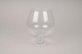 A039NH Vase en verre sur pied D11cm H21cm
