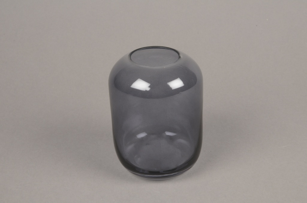 A039P5 Vase en verre gris D8cm H11cm