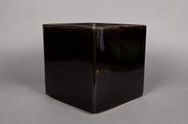 A039QS Cache-pot en céramique cube noir 24x24cm H24cm