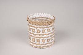 A039UV Two-tone weaved planter D12cm H13cm