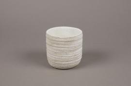 A040AC Cache-pot en béton strié blanc D11cm H11cm
