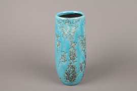 A040BS Blue ceramic vase D11cm H30.5cm
