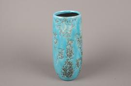 A040BS Vase en céramique turquoise D11cm H30.5cm