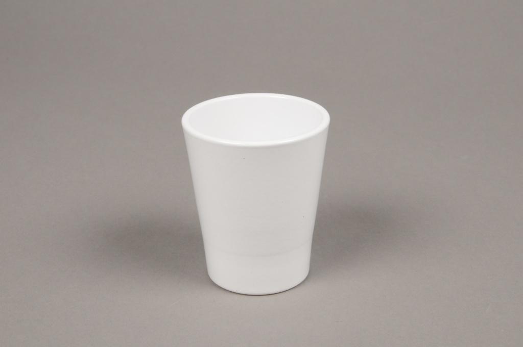 A040DO Cache-pot en céramique blanc D7cm H8cm
