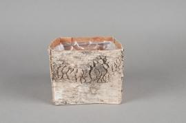 A040DZ Cache-pot en écorce naturelle 13x13x11cm