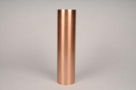 A040E0 Bougeoir cylindre métal cuivre D8.5cm H35cm
