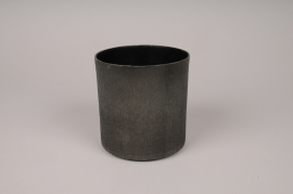 A040E5 Cache-pot en métal gris anthracite D15.5cm H15cm