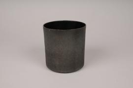 A040E5 Grey anthracite metal planter D15.5cm H15cm