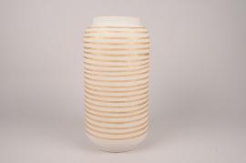 A040I4 Vase en céramique crème D20cm H40cm