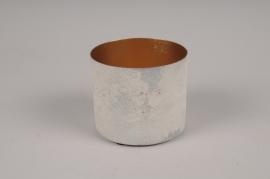 A040JY White metal planter D9cm H8cm