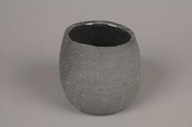 A040N8 Cache-pot en terre cuite gris D10cm H9cm