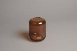 A040P5 Amber glass vase D8cm H11cm
